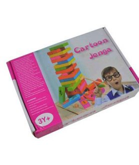 The Cartoon Jenga Wooden 54 Pieces & 6 colour for block For Kids