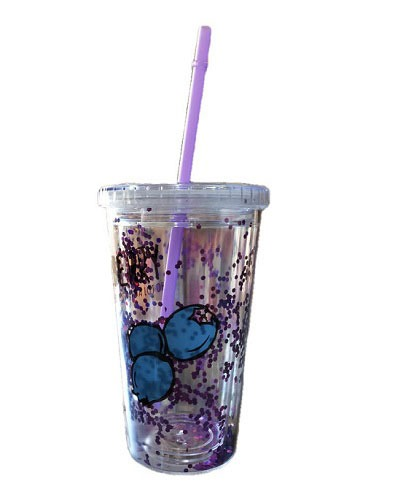 The New ICE Cup With Strew And Lid And Glitter Layer