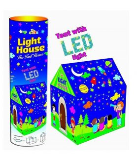Star Moon Tent House with LED Light (Round Box Container)