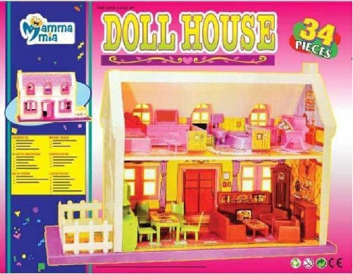 New Mamma Mia 34 Pieces Doll House For Childrens