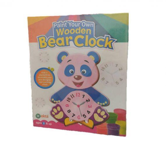 Ekta Paint Your Own Wooden Bear Clock Perfect Kit