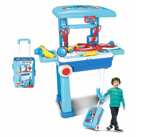Little Doctor Set 2 in 1 with Luggage Trolley Durable Carry Case