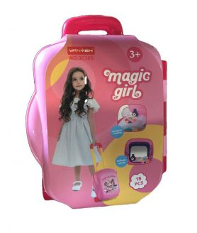 Beauty Makeup Kit with Trolley Suitcase Design for Kids