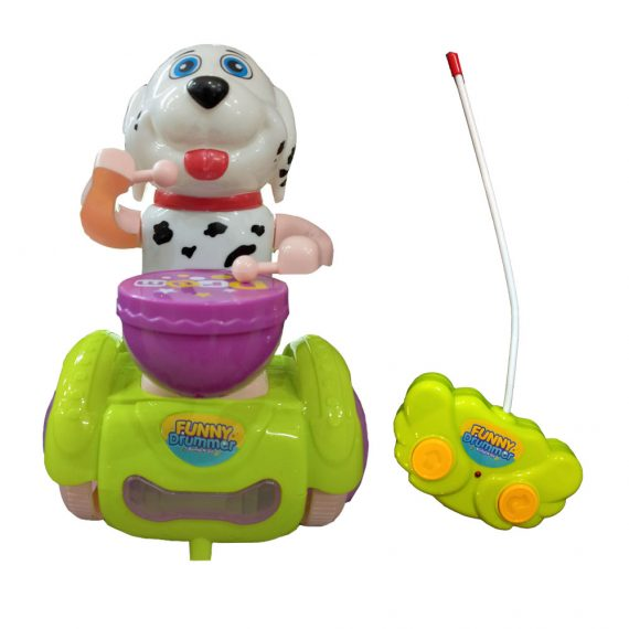 Happy Drummer Dog Musical Battery Operated Remote Controlled Beaten Drum Toy for Kids