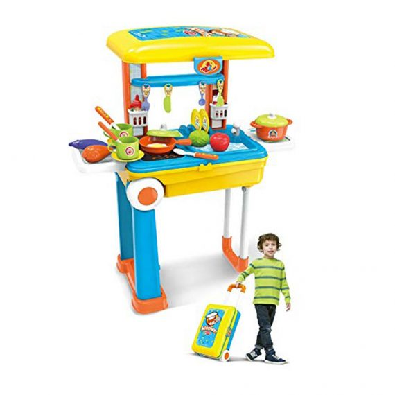 Toyoos Pretend Play Poratable Kitchen Playset With Accessories for Kids
