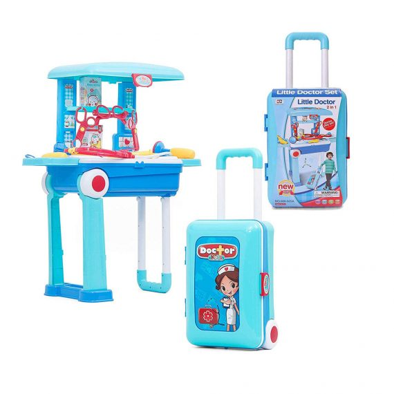 Toyoos 2 in 1 Little Doctor Play Set for Kids with Suitcase Trolley